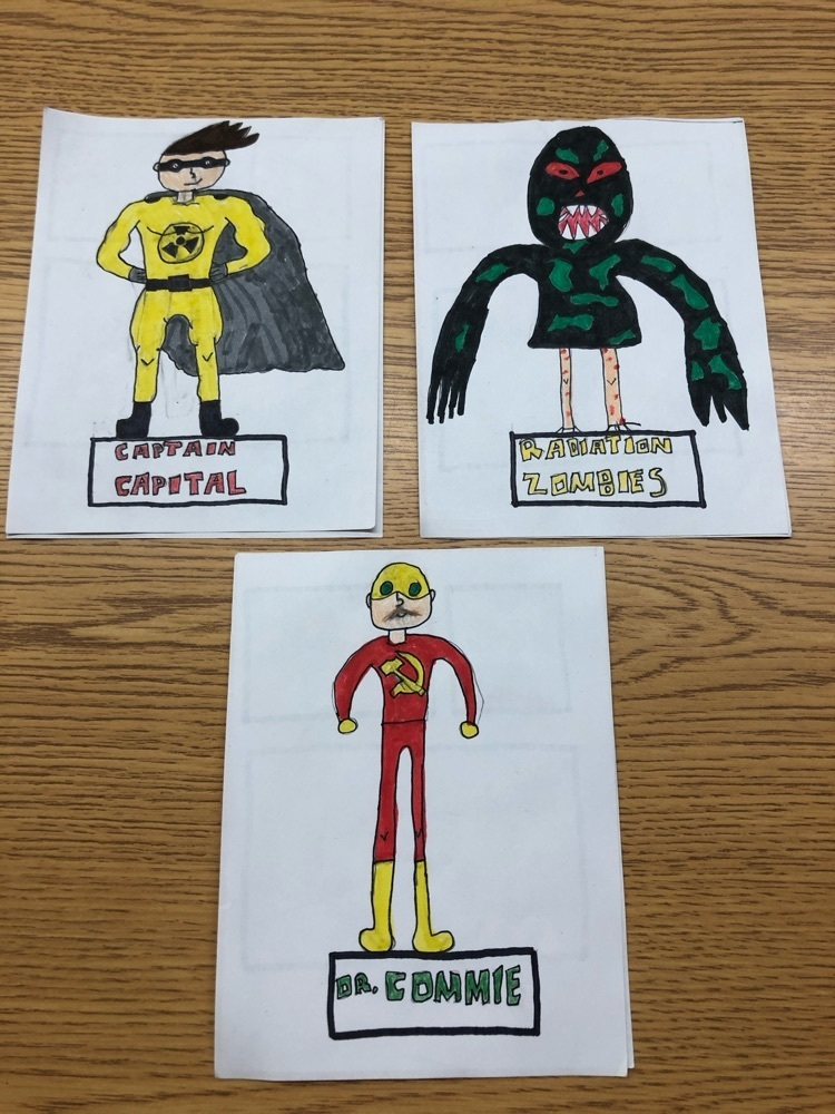 Superhero trading cards created by Madison Wagner-Durr as part of the United States History 2 Cold War unit.