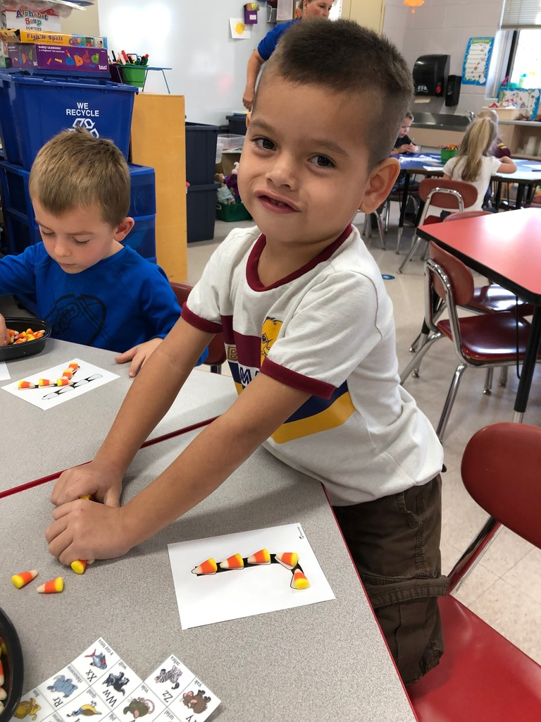 Candy corn alphabet letters.