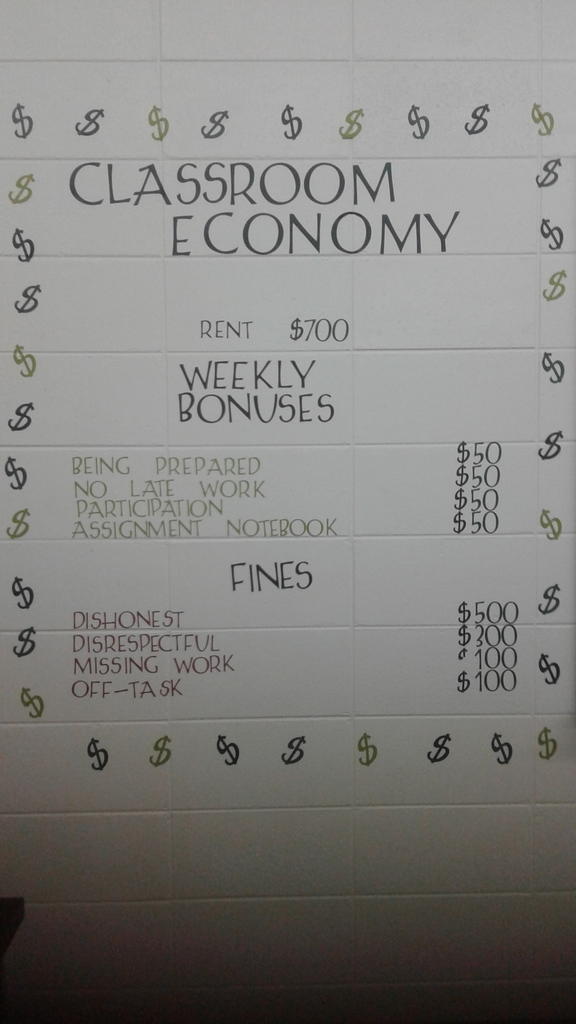 Picture of the classroom economy.