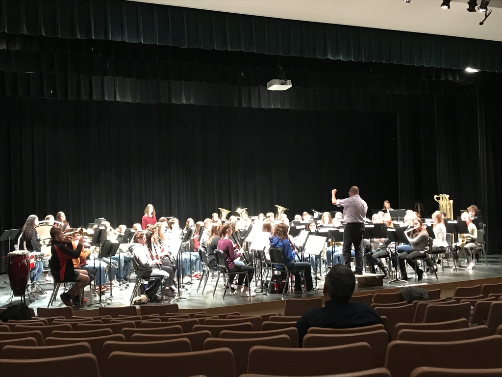 Action shot from the band rehearsal with guest conductor Dr. Andres Moran from UW-Stevens Point.