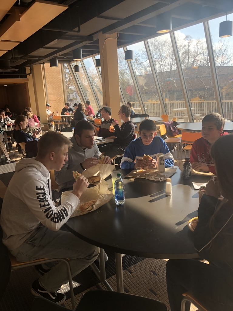 Enjoying lunch after the Math League Test at UWSP today.