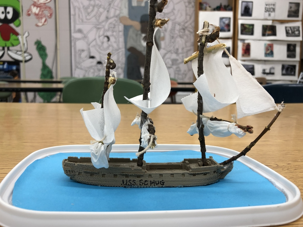 An example of a student project for creating a frigate for the War of 1812.