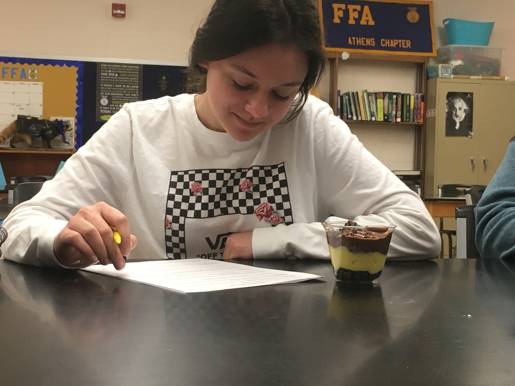 A student evaluating her dirt cup and filling out her worksheet.