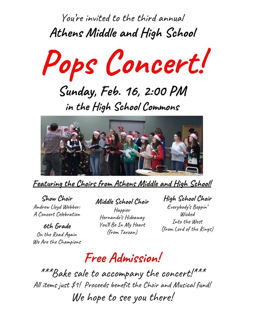 Pops Concert!  This Sunday at 2:00 in the HS Commons!