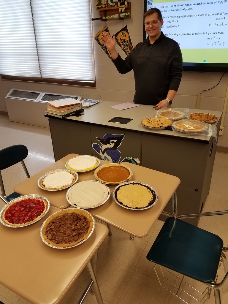 Here is our math student teacher, Mr. Literski!  Those pies look so good!