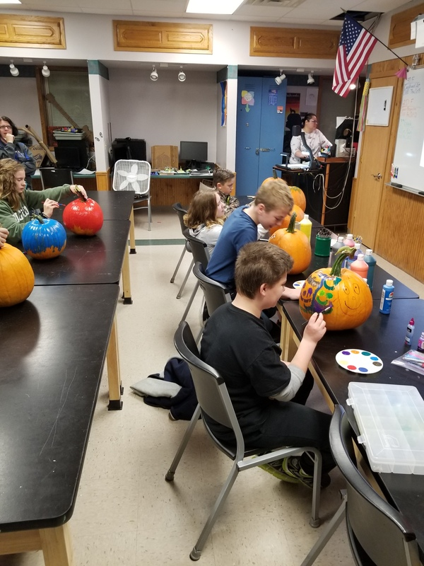 Students Painting Pumpkins During FLEX